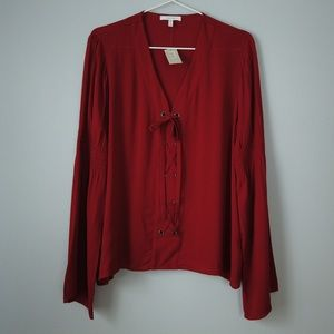Maurices Deep Red Lace Up Flare Sleeve Blouse
